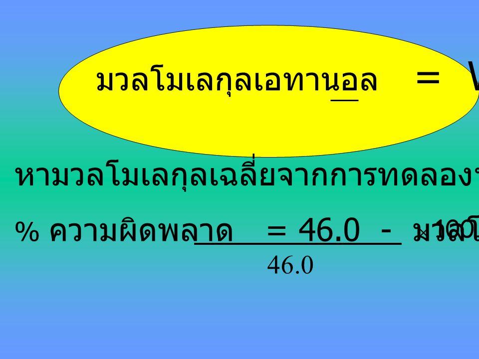 nเอทานอล มวลโมเลกุลเอทานอล = Wเอทานอล