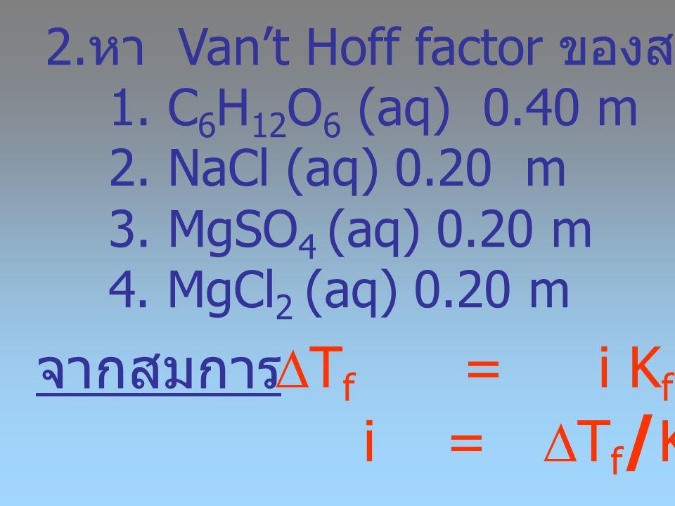 จากสมการ Tf = i Kf m i = Tf/Kf m หา Van't Hoff factor ของสารละลาย