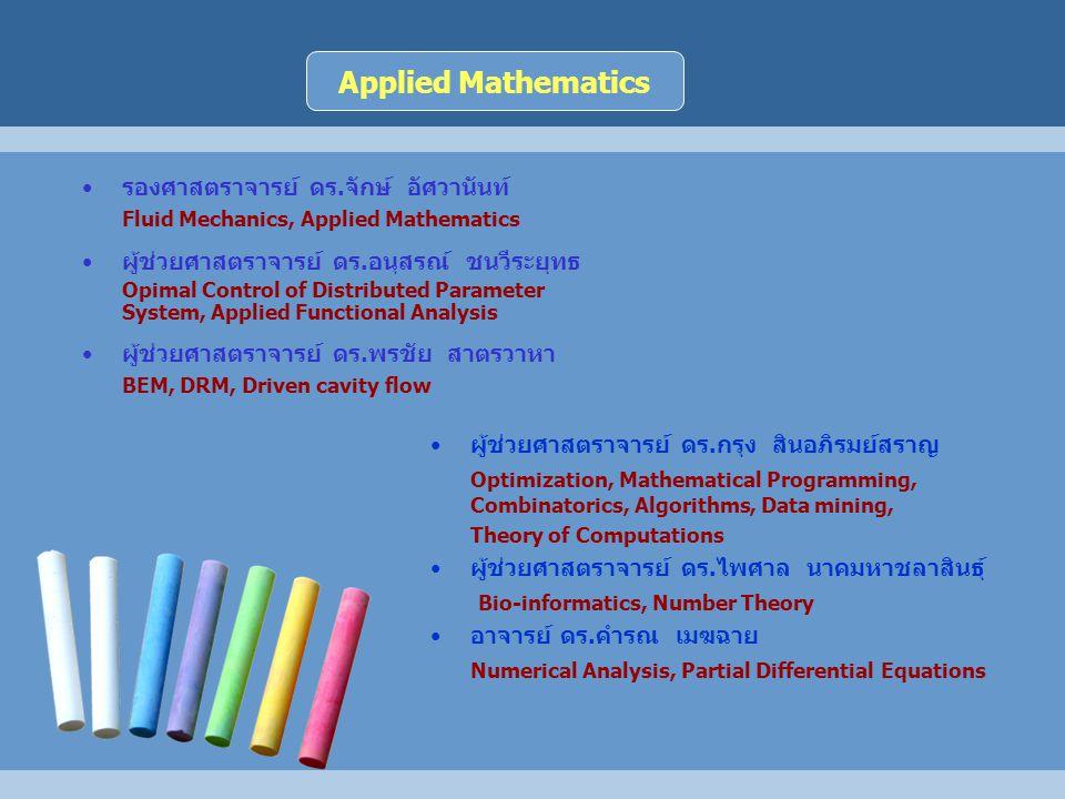 Applied Mathematics รองศาสตราจารย์ ดร.จักษ์ อัศวานันท์
