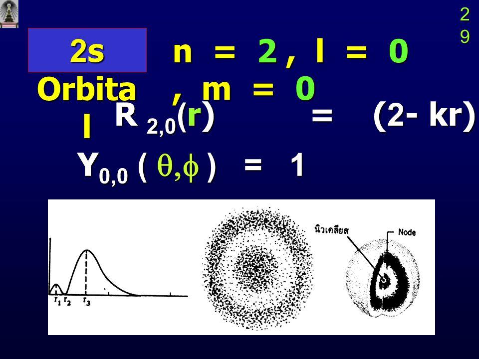 2s Orbital n = 2 , l = 0 , m = 0 R 2,0(r) = (2- kr) e-kr/2
