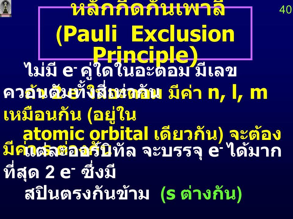 (Pauli Exclusion Principle)
