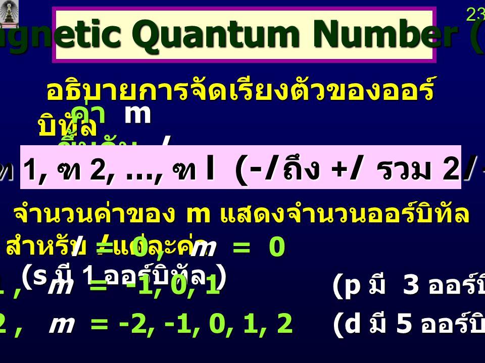 Magnetic Quantum Number (m)