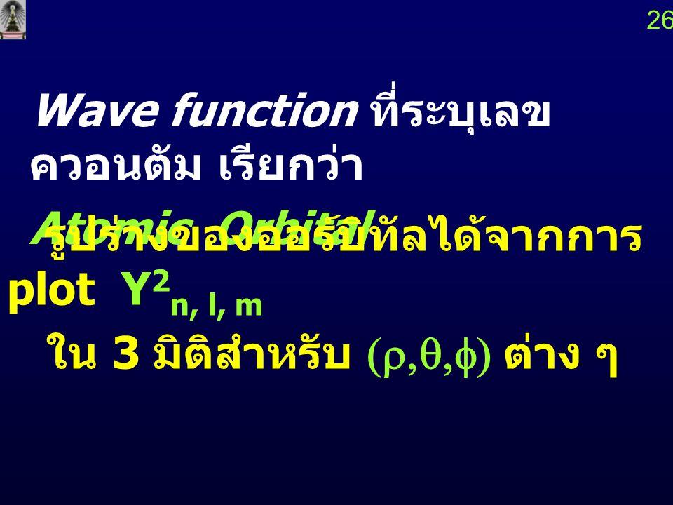 Wave function ที่ระบุเลขควอนตัม เรียกว่า Atomic Orbital