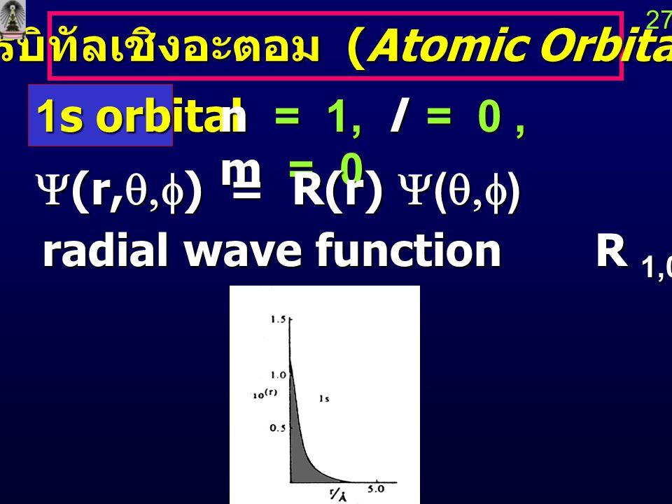 ออร์บิทัลเชิงอะตอม (Atomic Orbitals)