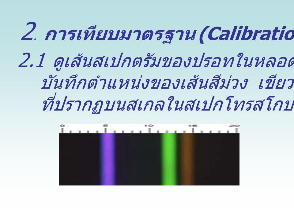 2. การเทียบมาตรฐาน (Calibration) สเปกโทรสโกป