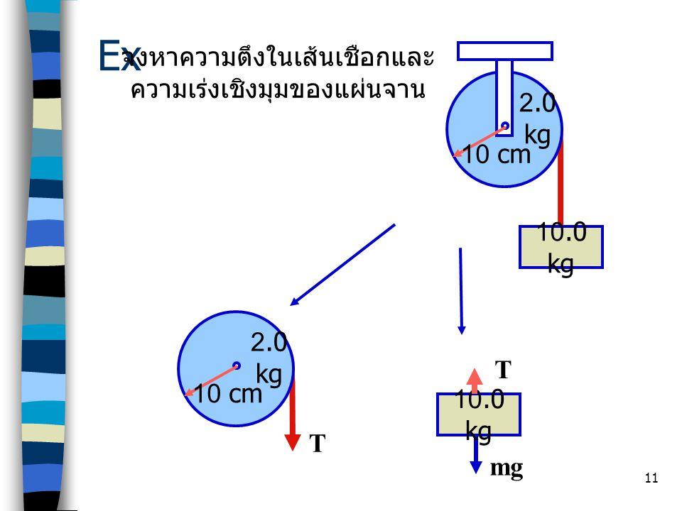 Ex จงหาความตึงในเส้นเชือกและ ความเร่งเชิงมุมของแผ่นจาน 2.0 kg 10 cm