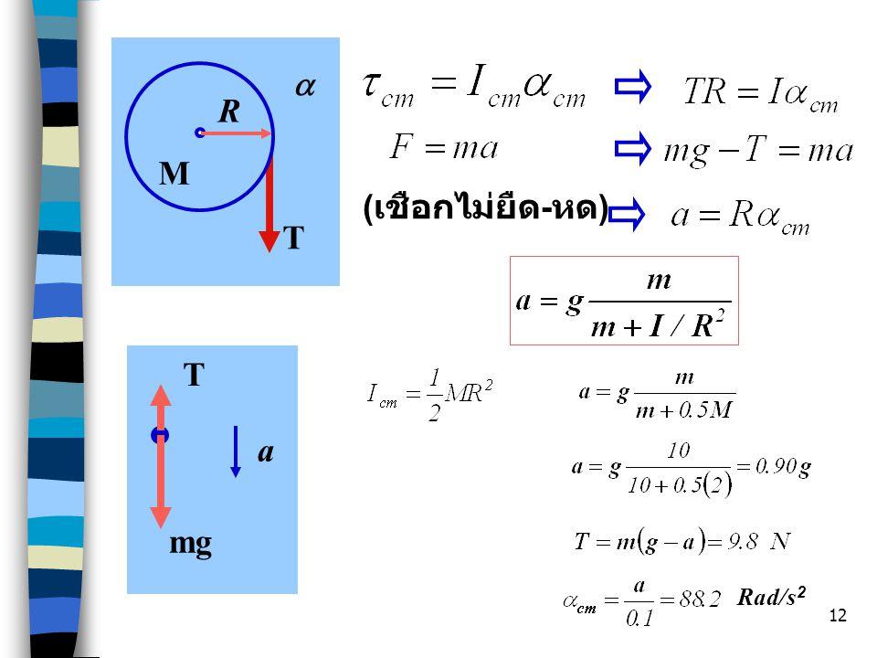T a R (เชือกไม่ยืด-หด) M T mg a Rad/s2