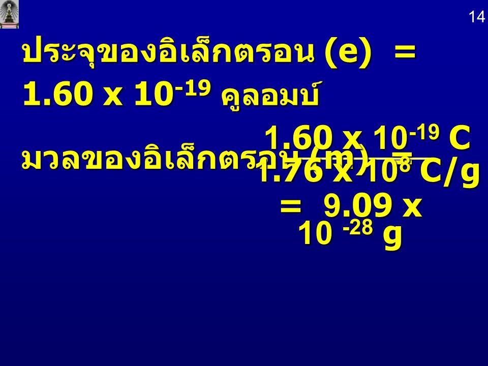 ประจุของอิเล็กตรอน (e) = 1.60 x 10-19 คูลอมบ์