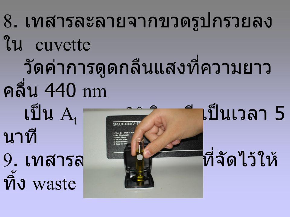 8. เทสารละลายจากขวดรูปกรวยลงใน cuvette