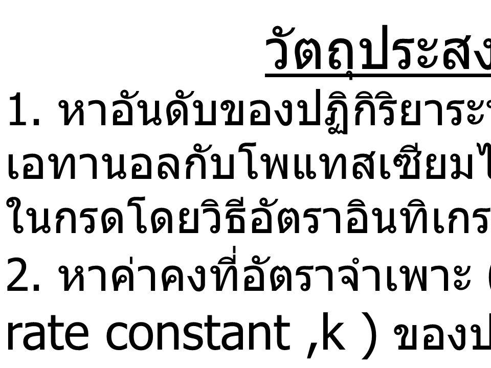 rate constant ,k ) ของปฏิกิริยา