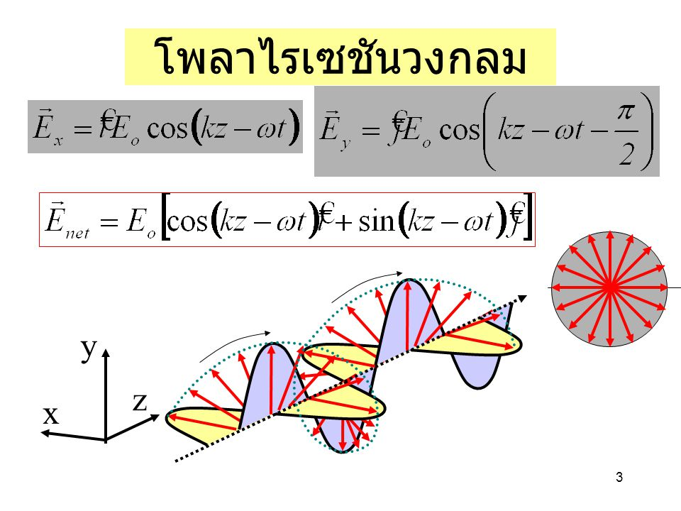 โพลาไรเซชันวงกลม x y z