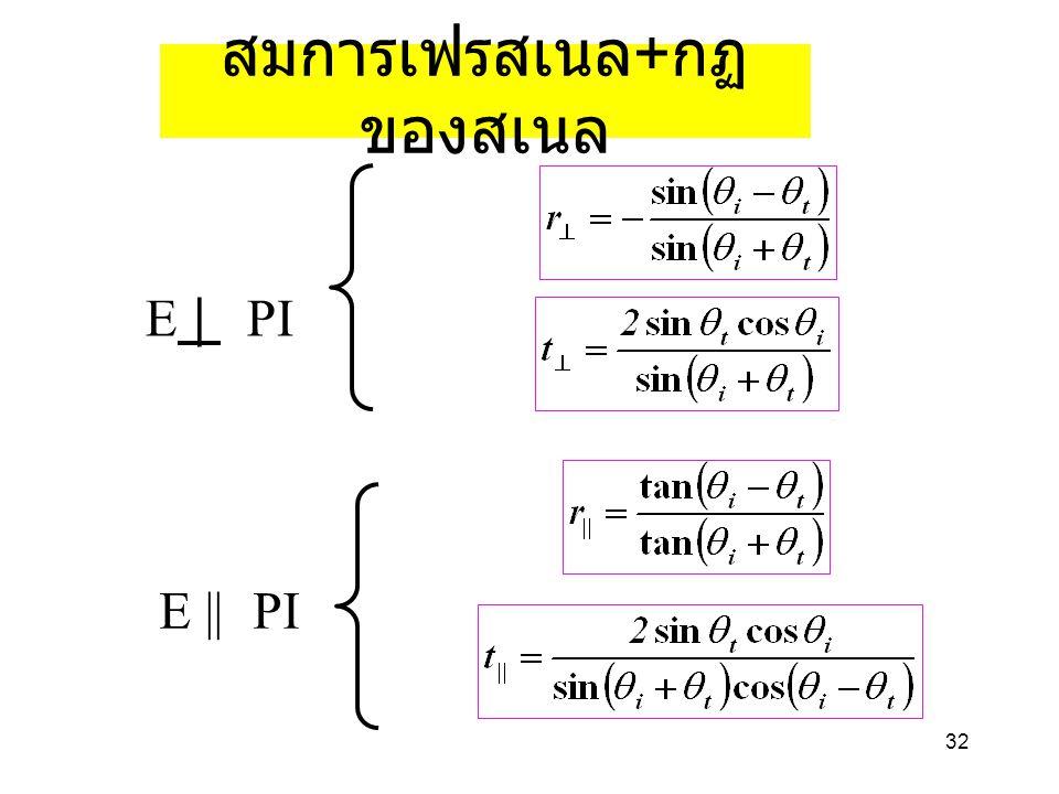 สมการเฟรสเนล+กฏของสเนล