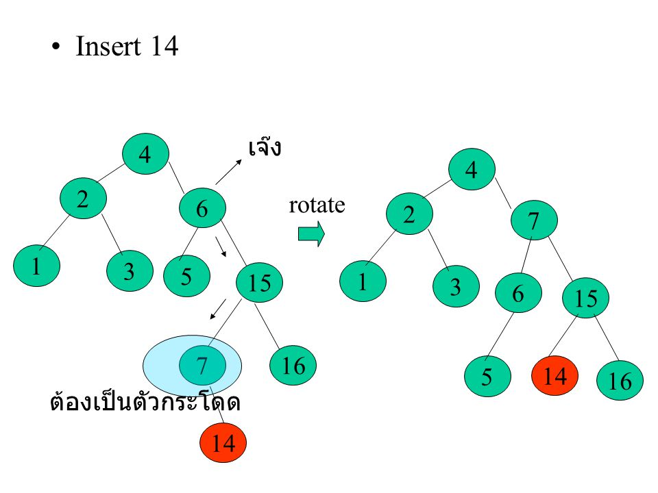 Insert 14 3 2 1 4 5 6 15 16 7 14 เจ๊ง ต้องเป็นตัวกระโดด rotate
