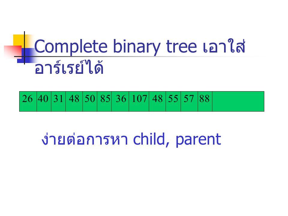 Complete binary tree เอาใส่อาร์เรย์ได้