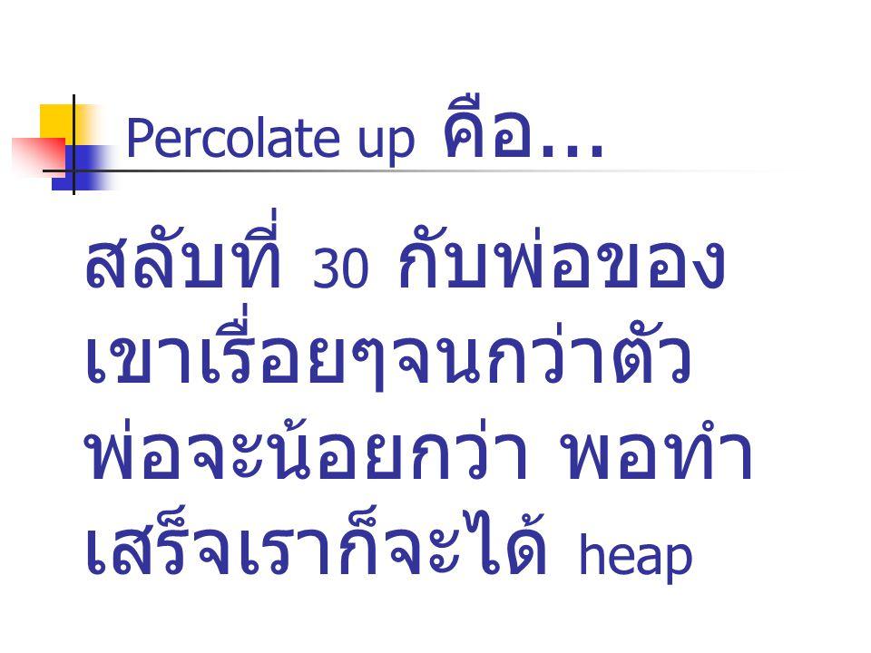 Percolate up คือ... สลับที่ 30 กับพ่อของเขาเรื่อยๆจนกว่าตัวพ่อจะน้อยกว่า พอทำเสร็จเราก็จะได้ heap.