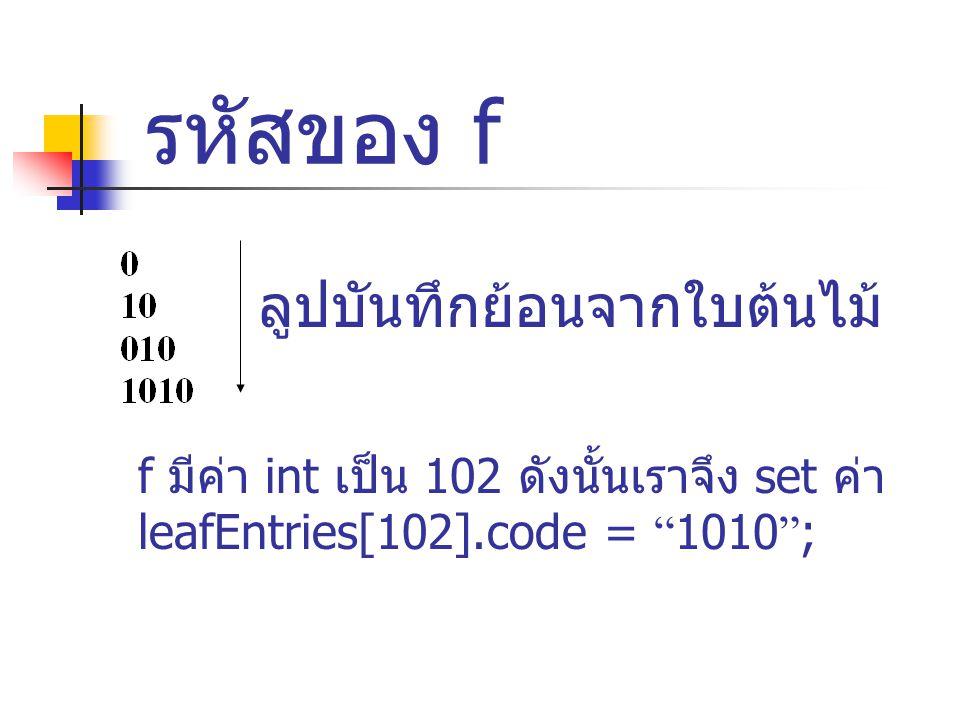 รหัสของ f ลูปบันทึกย้อนจากใบต้นไม้