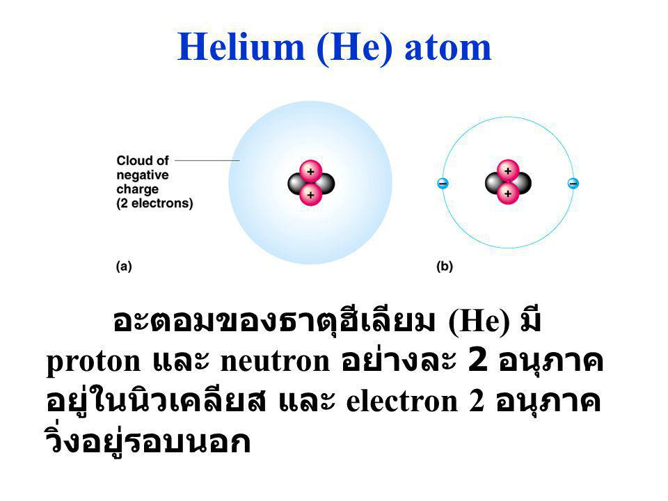 Helium (He) atom อะตอมของธาตุฮีเลียม (He) มี proton และ neutron อย่างละ 2 อนุภาคอยู่ในนิวเคลียส และ electron 2 อนุภาควิ่งอยู่รอบนอก.