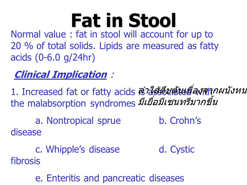 Fat in Stool Normal value : fat in stool will account for up to 20 % of total solids. Lipids are measured as fatty acids (0-6.0 g/24hr)