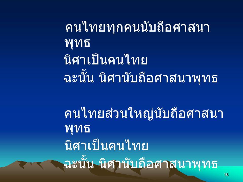 คนไทยทุกคนนับถือศาสนาพุทธ