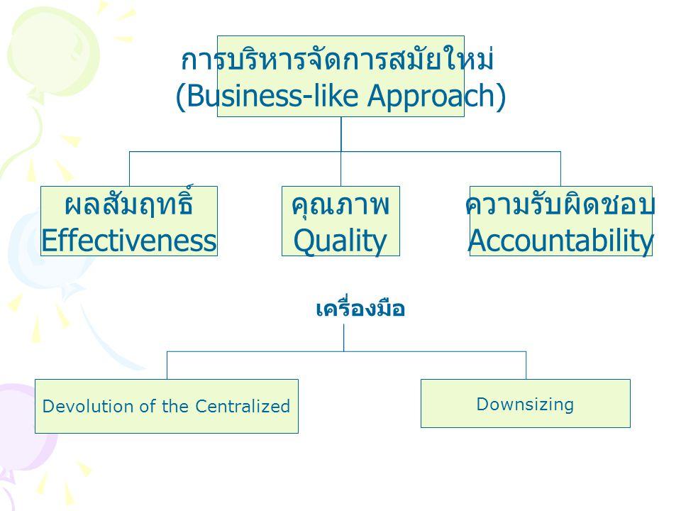 การบริหารจัดการสมัยใหม่ (Business-like Approach)