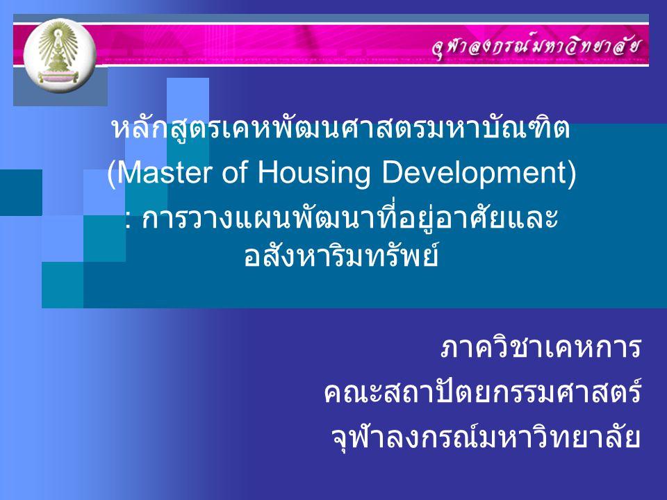 หลักสูตรเคหพัฒนศาสตรมหาบัณฑิต (Master of Housing Development)