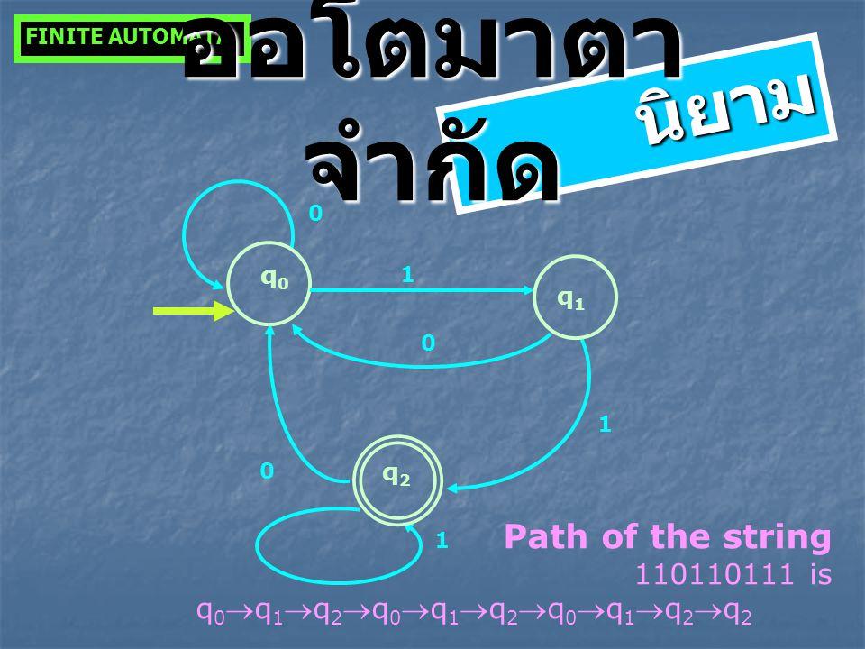 ออโตมาตาจำกัด นิยาม Path of the string 110110111 is