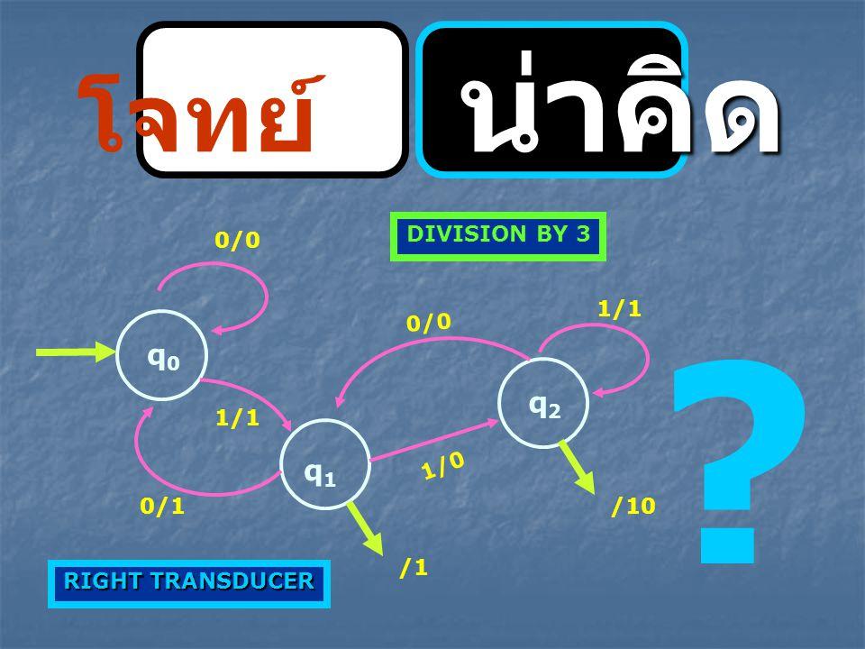 โจทย์ น่าคิด q0 q2 q1 DIVISION BY 3 0/0 1/1 0/0 1/1 1/0 0/1 /10 /1