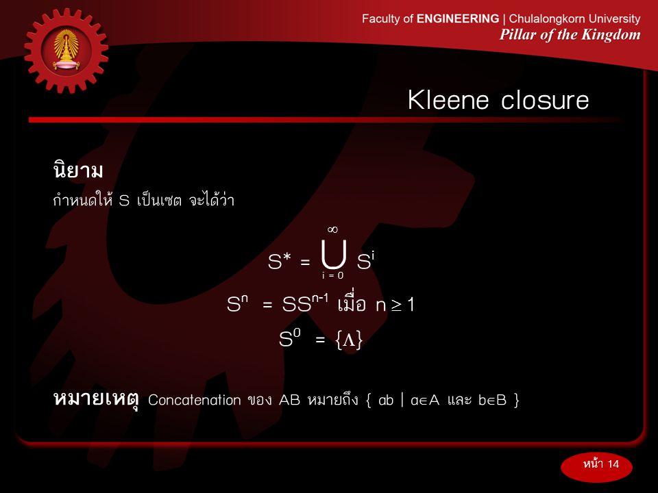 Kleene closure นิยาม S* = U Si Sn = SSn-1 เมื่อ n  1 S0 = {}