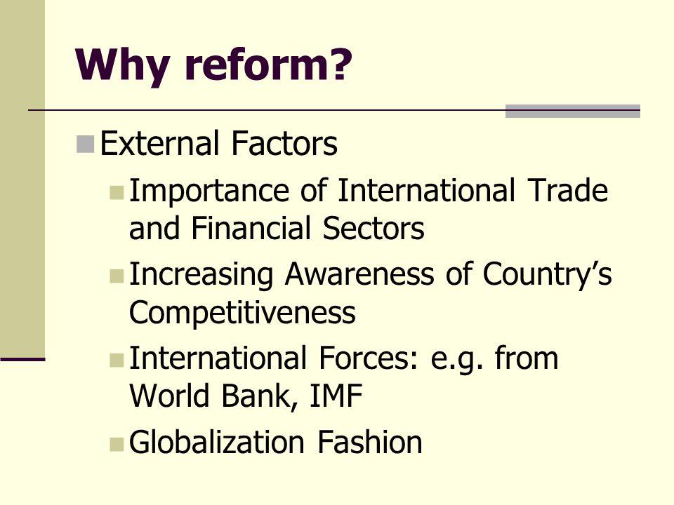 Why reform External Factors