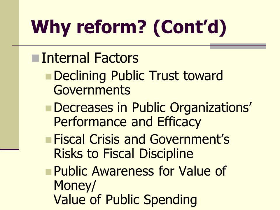 Why reform (Cont'd) Internal Factors