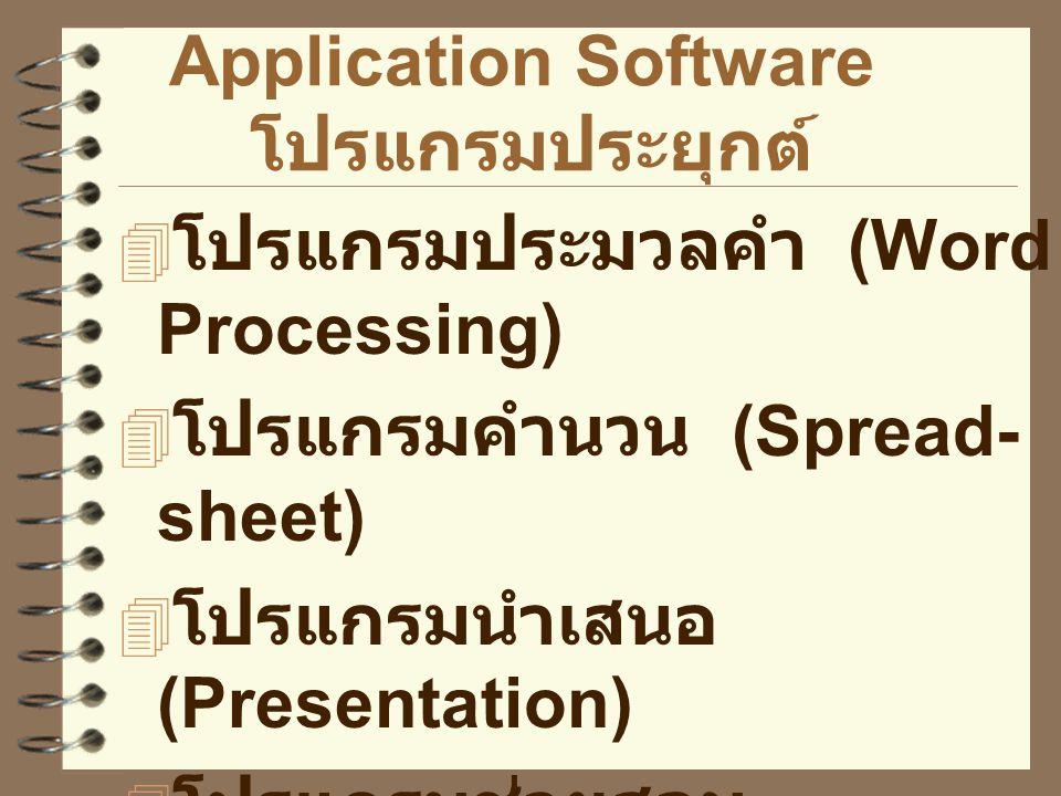 Application Software โปรแกรมประยุกต์