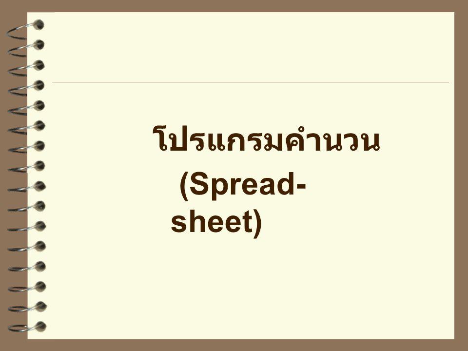 โปรแกรมคำนวน (Spread-sheet)