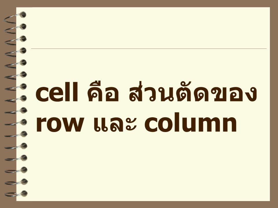 cell คือ ส่วนตัดของ row และ column