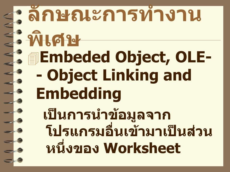 ลักษณะการทำงานพิเศษ Embeded Object, OLE-- Object Linking and Embedding