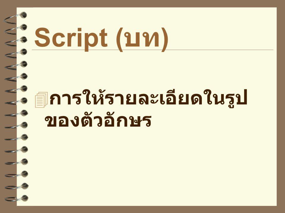 Script (บท) การให้รายละเอียดในรูปของตัวอักษร
