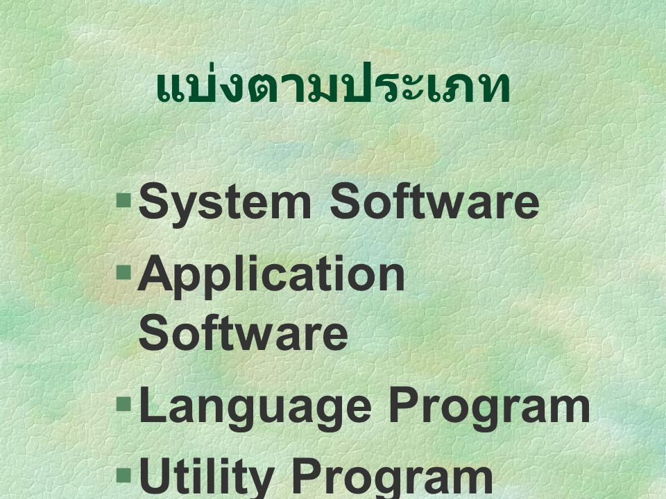 แบ่งตามประเภท System Software Application Software Language Program Utility Program