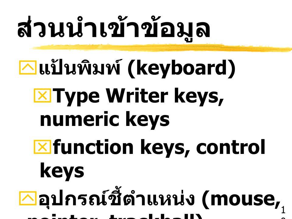 ส่วนนำเข้าข้อมูล แป้นพิมพ์ (keyboard) Type Writer keys, numeric keys