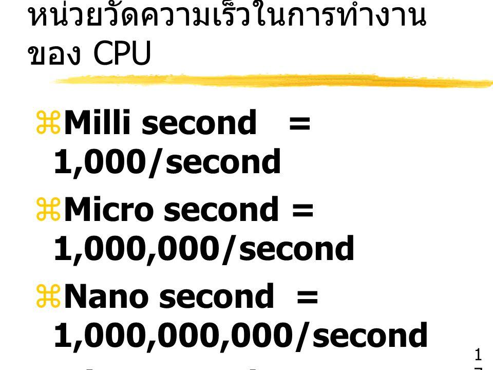หน่วยวัดความเร็วในการทำงานของ CPU