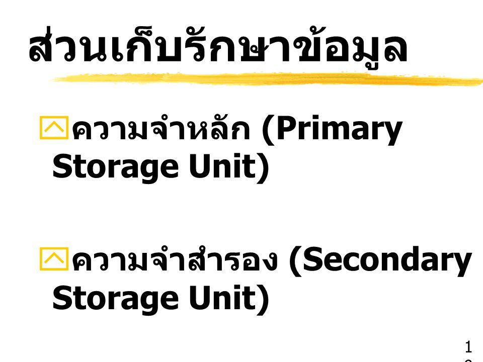 ส่วนเก็บรักษาข้อมูล ความจำหลัก (Primary Storage Unit)