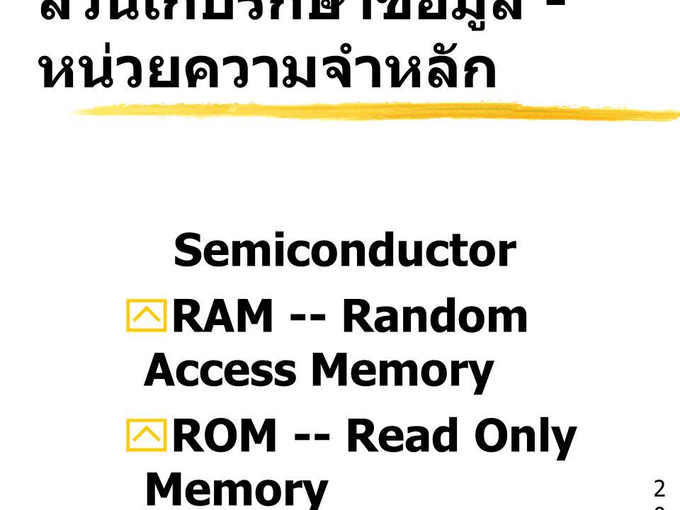 ส่วนเก็บรักษาข้อมูล - หน่วยความจำหลัก
