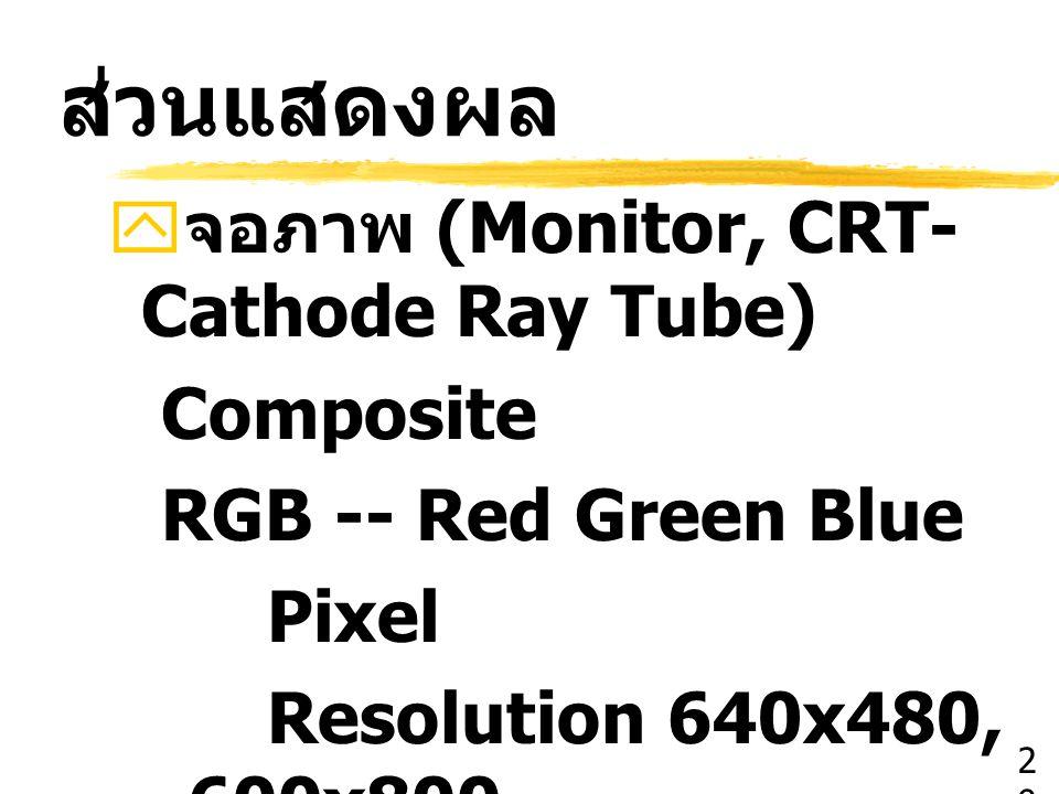 ส่วนแสดงผล จอภาพ (Monitor, CRT-Cathode Ray Tube) Composite