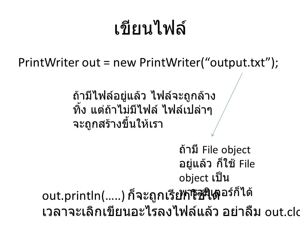 เขียนไฟล์ PrintWriter out = new PrintWriter( output.txt );