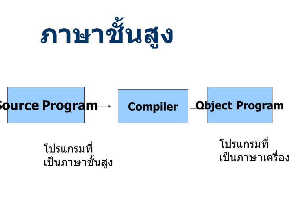 ภาษาชั้นสูง Source Program Object Program Compiler โปรแกรมที่