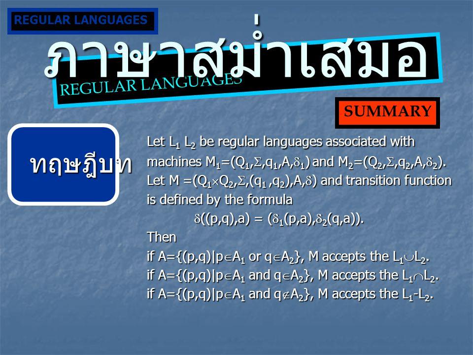 ภาษาสม่ำเสมอ ทฤษฎีบท Let L1 L2 be regular languages associated with