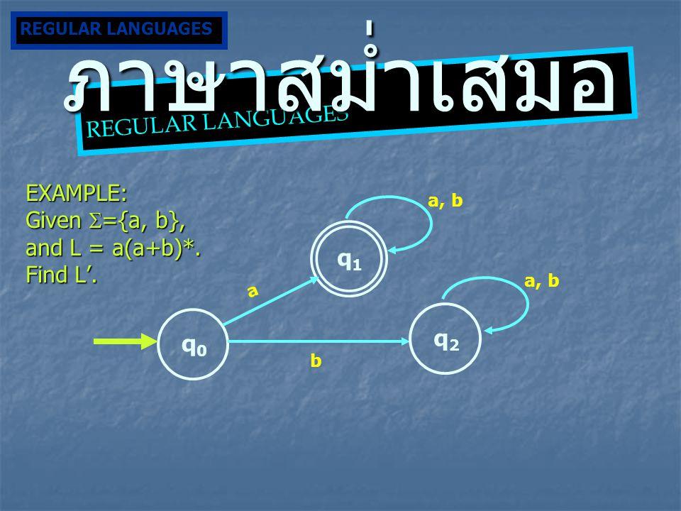 ภาษาสม่ำเสมอ REGULAR LANGUAGES EXAMPLE: Given ={a, b},