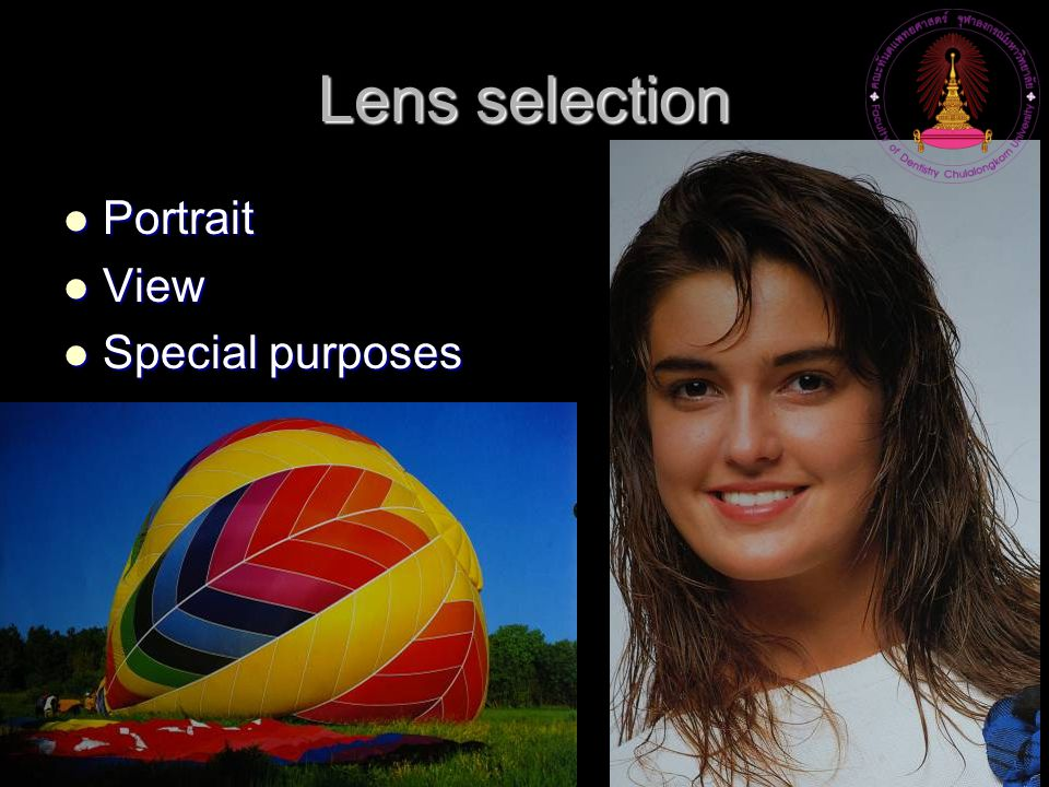 Lens selection Portrait View Special purposes