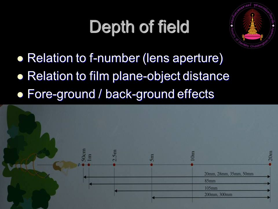 Depth of field Relation to f-number (lens aperture)
