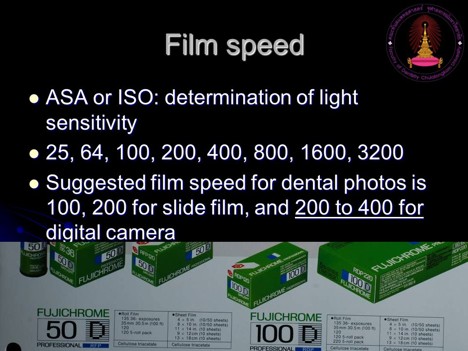 Film speed ASA or ISO: determination of light sensitivity