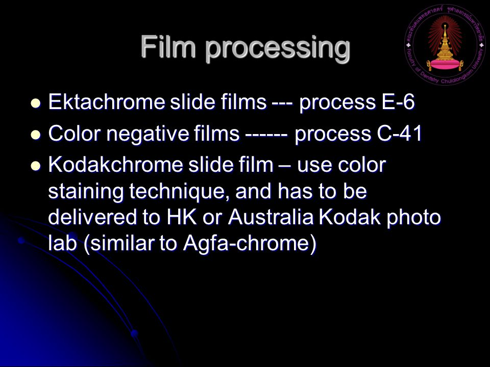 Film processing Ektachrome slide films --- process E-6