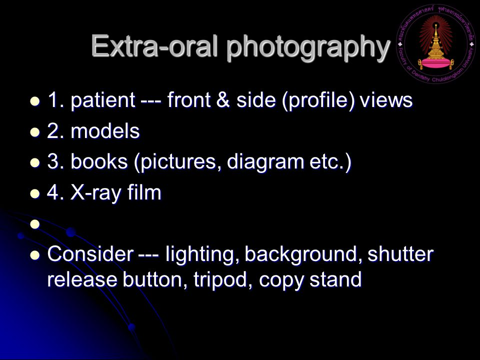 Extra-oral photography